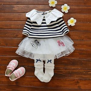Picture of Girl Stripe Long Tee and Skirt 2pcs Set