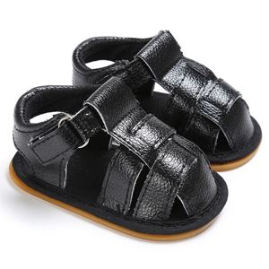 Picture of Black Baby Toddler Infant Leather Sandal