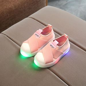 Picture of Peach Fashion Boy Girl Luminous Sneakers with Light