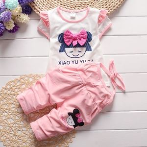 Picture of Short Sleeve Ribbon Girl Cotton Two-Piece Set