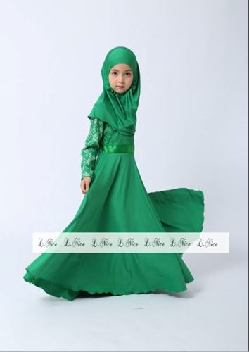 Picture of Muslimah Fashion Jubah Girl Set with Scarf Small Size