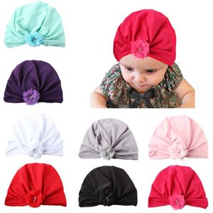 Picture of Stylish Assorted Color Flower Pleated Turban Baby Girl Hat