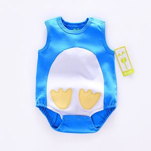 Picture of Blue Sleeveless Penguin Unisex Baby Romper