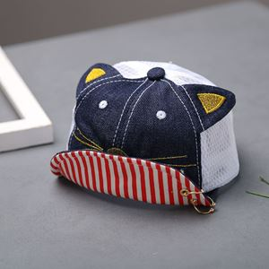 Picture of Adorable Baby Toddler Kids Hat with Kitten and Stripe Design