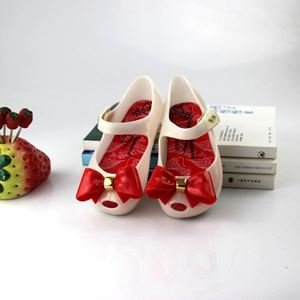 Picture of Lovely White Butterfly Knot Jelly Shoes for Girls
