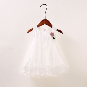 Picture of Sweet White Sleeveless Lace Dress for Toddler Girls