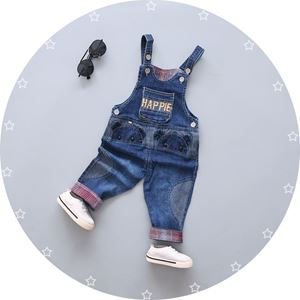 Picture of Baby Unisex Overall Embroider Design Happle Denim Blue