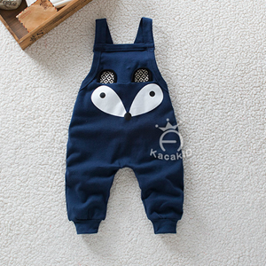 Picture of Dark Blue Cute Little Fox Overall for Unisex Baby
