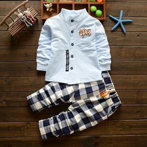 Picture of Stylish Star Shirt & Grid Trousers 2-Piece Clothing Set