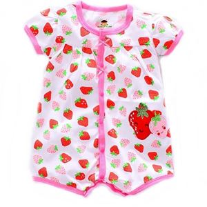 Picture of Adorable Short Sleeve Strawberry Printed Baby Romper