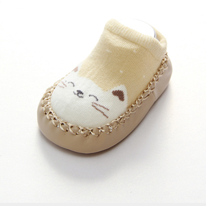 Picture of Cartoon Design Beige-brown Kitten  Anti-skid Unisex Baby Socks