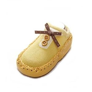 Picture of Design Yellow Button Ribbon Anti-skid Baby Socks