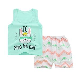 Picture of Two-Pieces Green TO Sleeveless Garment and Shorts Pants Unisex Clothing Set