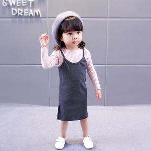 Picture of Korea Stylist Longsleeve Shoulder Straps Dress Two-Piece Clothing Set