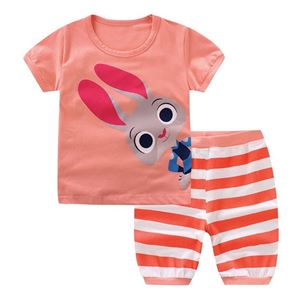 Picture of Two-Piece Rabbit Printed Short Sleeve Casual Wear Clothing Set