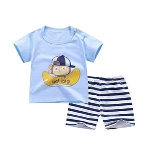 Picture of Two-Piece Monkey Printed Short Sleeve Casual Wear Clothing Set