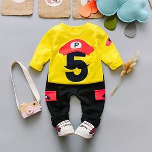 Picture of Mustache 5 Print Boy Longsleeve Shirt and Pant Two-Piece Set