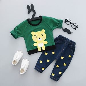 Picture of Fashion Bear Print Longsleeve Shirt and Pant Two-Piece Set