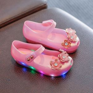 Picture of Floral LED Pure Rose Pink Girl Jelly Shoes For Kids
