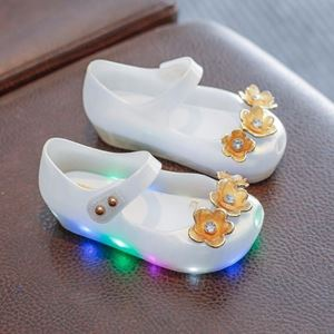 Picture of Floral LED Pure White Girl Jelly Shoes For Kids