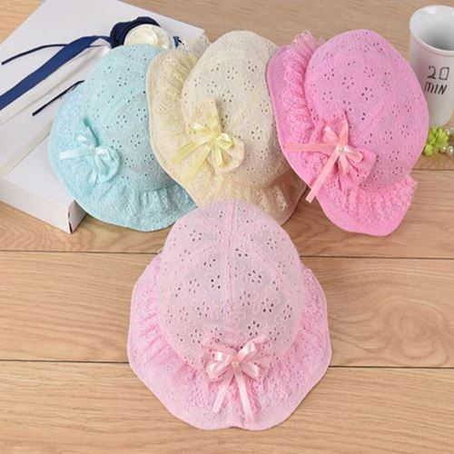 Picture of Graceful Lace Ribbon Cotton Infant Head Baby Girl hat