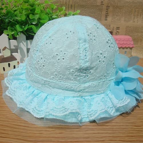 Picture of Graceful Lace Flower Cotton Infant Head Baby Girl hat