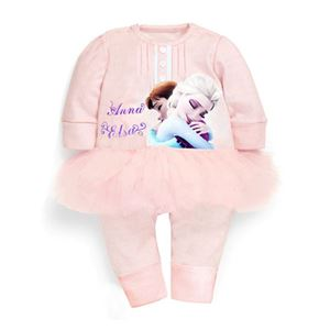 Picture of Pretty Peach Frozen Lace Baby Girl Romper