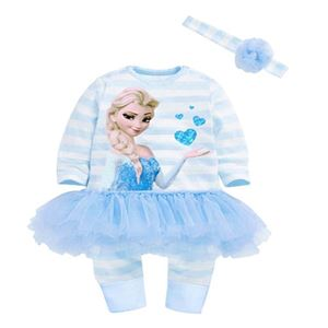 Picture of Pretty Elsa Frozen Stripe Lace Baby Girl Romper With Headband