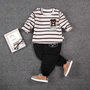 Picture of Bear Stripe Printed Boy Longsleeve Shirt and Pant Two-Piece Set