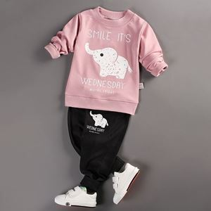 Picture of Elephant Printed Longsleeve Shirt and Pant Two-Piece Set