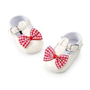 Picture of Baby Toddler Girl Infant Lattice Bowknot Soft Anti-slip Prewalker