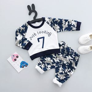 Picture of Dark Blue Army Shirt & Trousers 2-Piece Boy Clothing Set