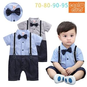 Picture of Stylish Shoulder Strap Bow Baby Boy Suit Romper Jumpsuit Clothes