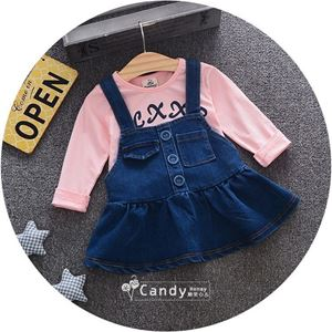 Picture of Casual Denim Overall Skirt and Pink Shirt Two-Piece Set