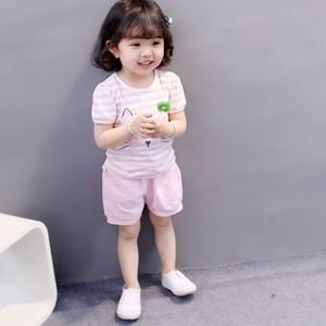 Picture of Cute Kitten Pink Short Sleeve For Girl Clothing Set