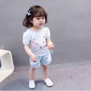 Picture of Cute Kitten Blue Short Sleeve For Girl Clothing Set