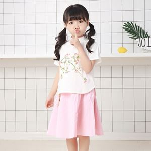 Picture of Chinese Style Floral Shirt &Skirt Two-Piece Clothing Set