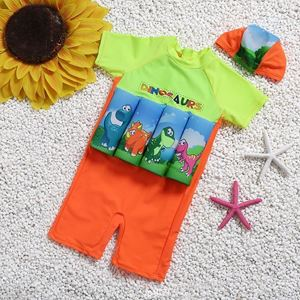 Picture of Baby Dinosaurs Short Sleeve Floting Swim Wear with Hat (2-7years)