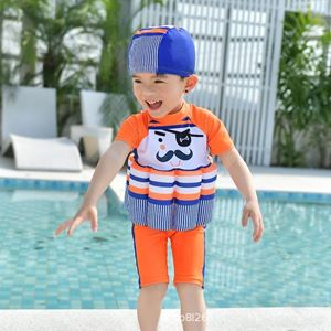 Picture of Cartoon Mustache Short Sleeve Floting Swim Wear with Hat (2-7years)