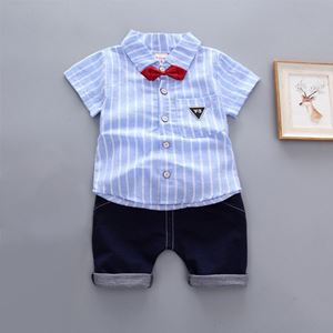 Picture of Handsome Stripe Short Sleeve Shirt and Pant Two-Piece Set