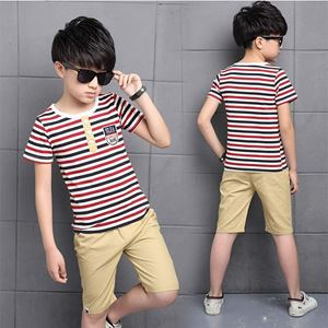 Picture of Stripe Short Sleeve Shirt and Pant Two-Piece Set