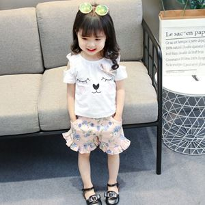 Picture of Ribbon Kitten Shirt With Floral Pants Set
