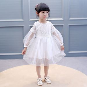 Picture of Princess Solid Color Lace Tulle Long Sleeve Dress