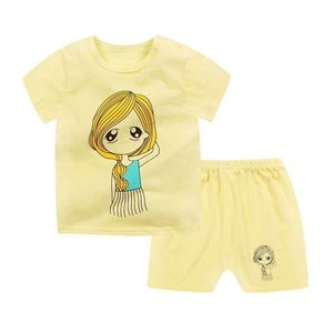 Picture of Girl Face Printed Short Sleeve Casual Wear Clothing Set