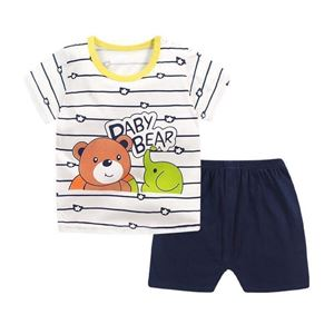 Picture of Bear Stripe Printed Short Sleeve Casual Wear Clothing Set