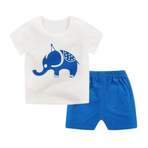 Picture of Elephant Printed Short Sleeve Casual Wear Clothing Set