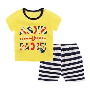 Picture of Yellow Letter Printed Short Sleeve Casual Wear Clothing Set