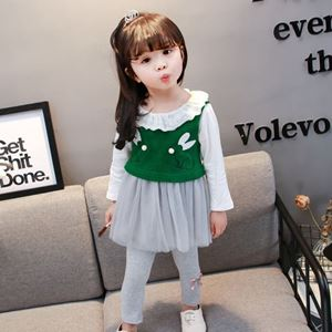 Picture of Korea Stylist Vest Longsleeve Dress &Leggings Three-Piece Clothing Set