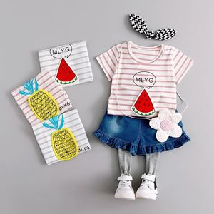 Picture of Girl Stripe Water Melon Shirt With Pant Denim