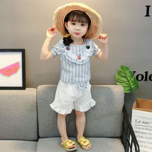 Picture of Blue Stripe Flower Shirt With White Pants Set